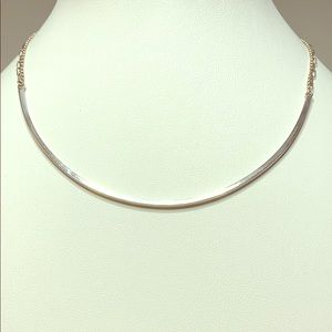 Silver Arc Necklace With Double Chain